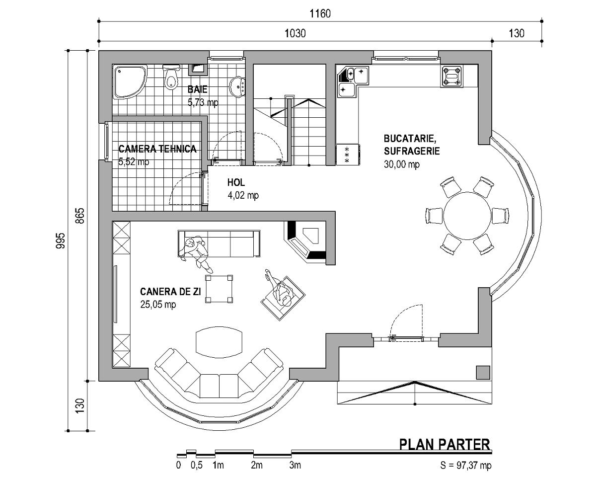 Proiect casa parter si mansarda constructii buzau for Plan en 2d